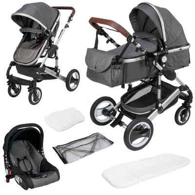 ib style Sport-Kinderwagen »SOLE 3 in 1 Kinderwagen Grau/Silber«, inkl. Auto Babyschale - Zusammenklappbar - inkl. Regen- & Mückenschutz