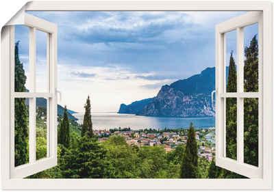 Artland Wandbild »Gardasee durchs weiße Fenster«, Seebilder (1 Stück), in vielen Größen & Produktarten - Alubild / Outdoorbild für den Außenbereich, Leinwandbild, Poster, Wandaufkleber / Wandtattoo auch für Badezimmer geeignet