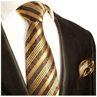 Paul Malone Krawatte »Herren Seidenkrawatte mit Tuch modern paisley gestreift 100% Seide« (Set, 2-St., Krawatte mit Einstecktuch) Schmal (6cm), braun gold 388