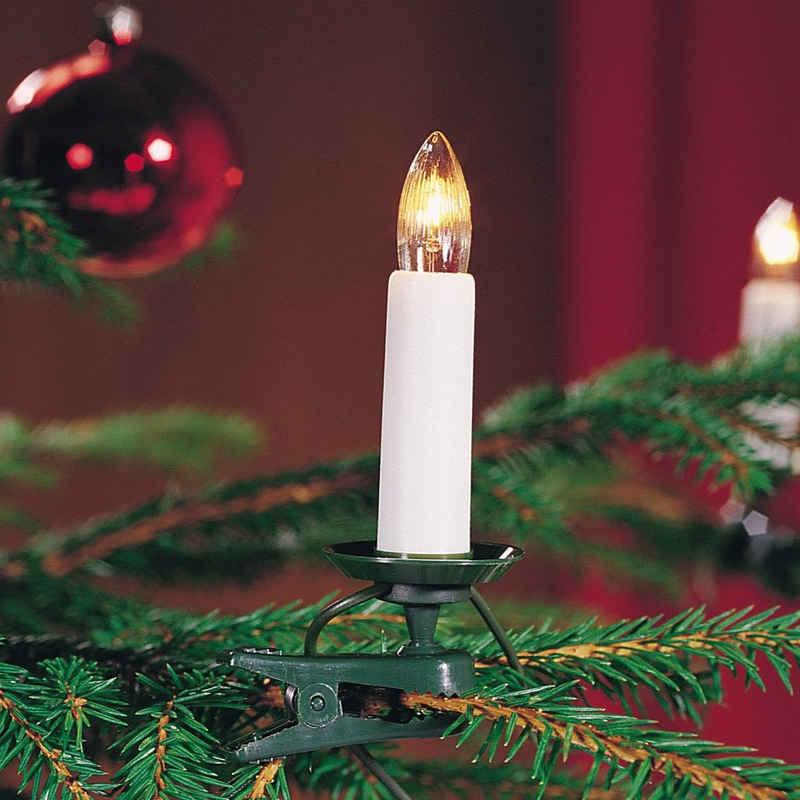 KONSTSMIDE LED-Christbaumkerzen, LED Baumkette, für den Innenbereich, 35 warmweiße Dioden, klare Birnen, grünes Kabel