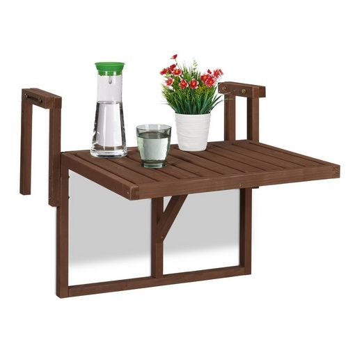 relaxdays Balkonhängetisch »Balkontisch klappbar Holz«