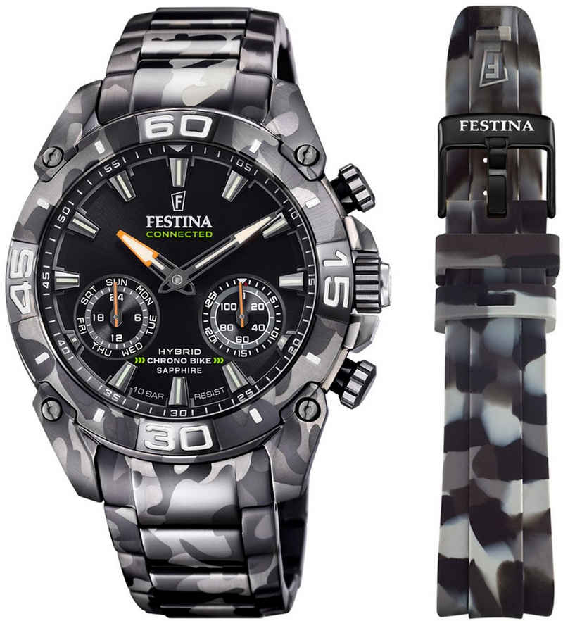 Festina Chronograph »Chrono Bike 2021 - Special Edition Connected, F20545/1«, (Set, 2-tlg., mit Wechselband)