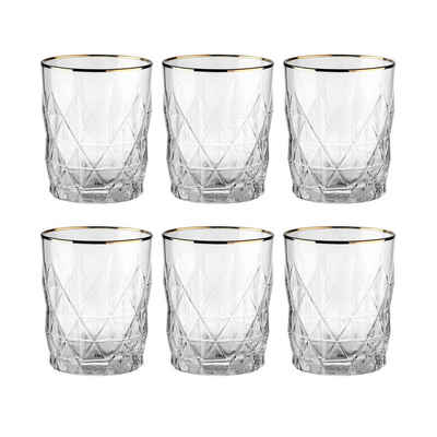 BUTLERS Glas »UPSCALE 6x Wasserglas mit Goldrand 345ml«, Glas