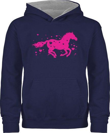 Shirtracer Hoodie »Pferd mit Herzen - fuchsia - Pferd & Pferde - Kinder Hoodie Kontrast« Reiten Kleidung Equipment