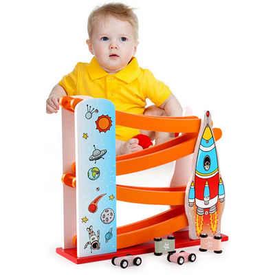 Wenta Kugelbahn »Autorennbahn Holz Kinder mit 4 Mini-Autos Parkplatz Rakete Autostrecke Spielzeugauto Set Lernspielzeug Rennwagenbahn für Mädchen Jungen ab 1 2 3 4 jahre«