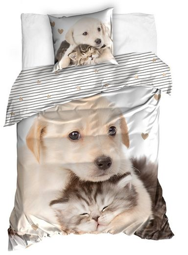 Bettwäsche, One Home, mit Hund und Katzen Welpen