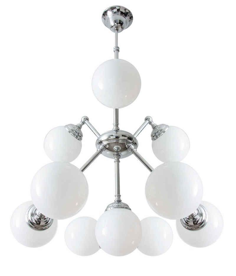 Licht-Erlebnisse Kronleuchter »SATURNO«, Pendelleuchte Messing in Silber 10xE14 Art Déco Weiß Wohnzimmer