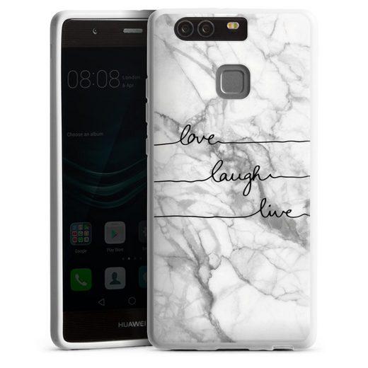 DeinDesign Handyhülle »Love, Laugh, Live Marmor« Huawei P9, Hülle Marmor Sprüche Liebe