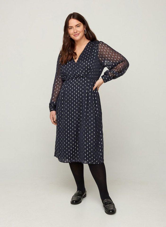 Festtagsmode - ZAY Abendkleid Große Größen Damen Langarm Wickelkleid mit V Ausschnitt ›  - Onlineshop OTTO