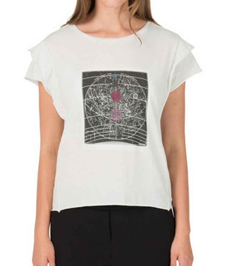 TIMEZONE T-Shirt »TIMEZONE Galaxy T-Shirt locker geschnittenes Damen Sommer-Shirt mit Volant-Ärmeln Baumwoll-Shirt Weiß«