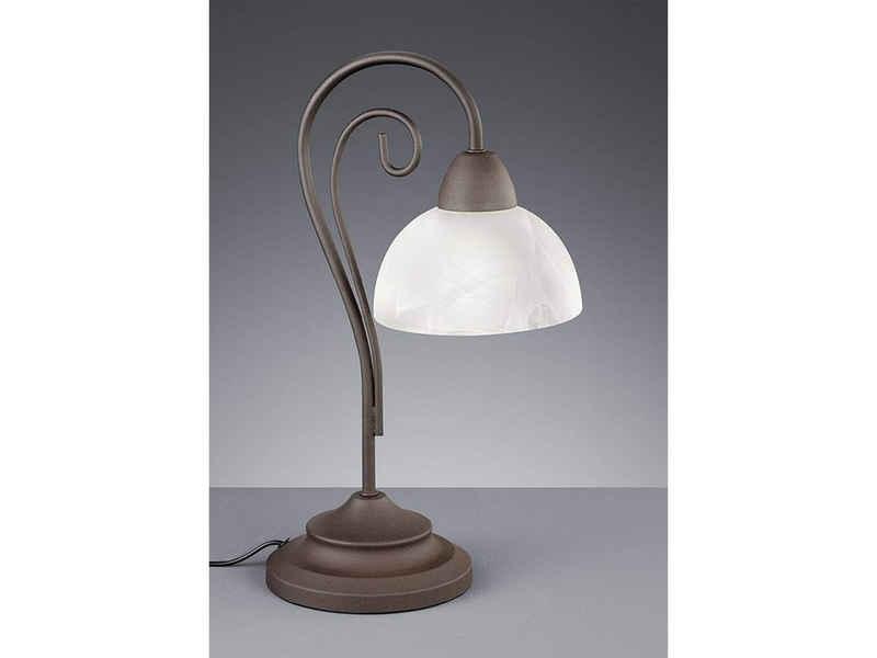 meineWunschleuchte LED Tischleuchte, Landhaus-Stil in angesagter Rost-Optik, Vintage, Große nostalgische Lampe Fensterbank, Lampenschirme Milch-Glas, Einflammig, mit Schnur-Schalter