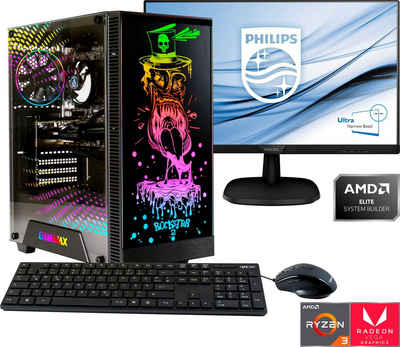 Hyrican »Rockstar SET2032« Gaming-PC-Komplettsystem (24 Zoll, AMD Ryzen 3, Radeon Vega 8, 8 GB RAM, 480 GB SSD, 2-tlg)