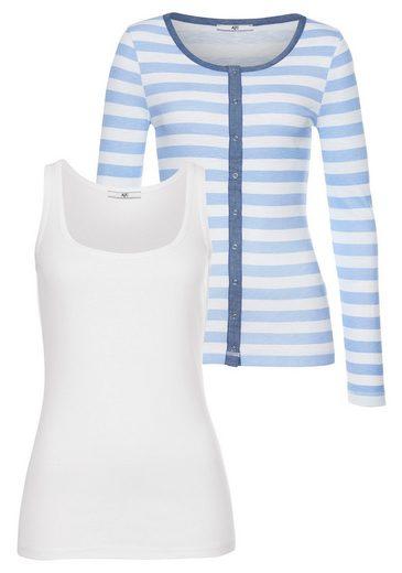 AJC Shirtjacke (Set, mit Top) Shirtjacke im angesagten Streifenlook oder Uni, im Set mit Top