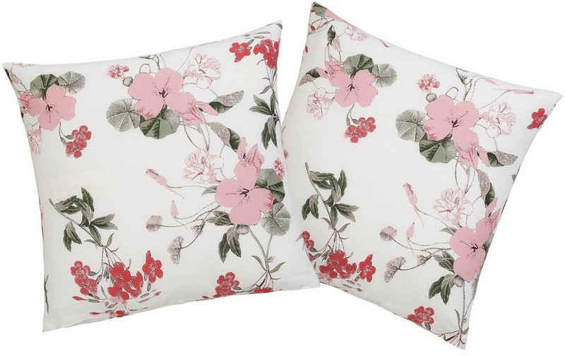 Kissenhüllen »Fleur«, Home affaire (2 Stück), mit feinen Blumenmotiven