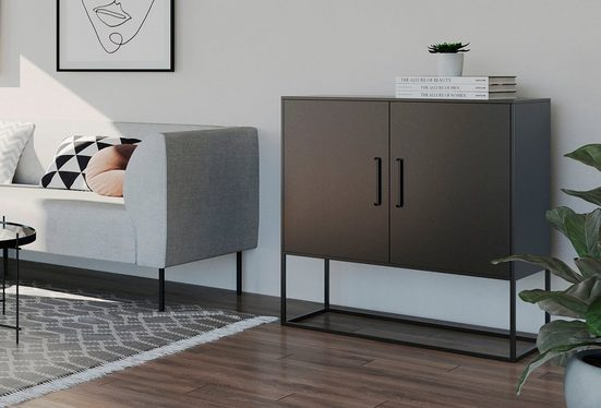 Homexperts Kommode »Rich«, designorientierte Kommode mit Metalltüren
