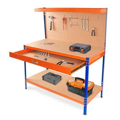 wuuhoo Werkbank »Werkzeugkbank Ben mit Schublade und Ablage«, Werkbank mit Lochwand für Werkzeug zum Aufhängen und Haken zur Aufbewahrung
