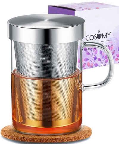 Cosumy Teeglas »Teetasse mit Sieb und Deckel Cosumy«, Glas, Cosumy Teetasse mit Sieb und Deckel - inkl. Untersetzer - Borosilikat Glas - Tasse 400ml Groß