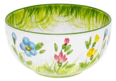 Lashuma Servierschale »Blumenwiese«, Keramik, Runde Salatschüssel aus Italien, Suppenschale handbemalt