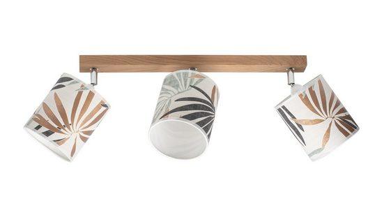 BRITOP LIGHTING Deckenleuchte »HOJA«, Schirme aus laminierter Tapete, Baldachin aus Eichenholz mit FSC®-Zertifikat, bewegliche Spots, passende LM E27 / exklusive, Made in Europe