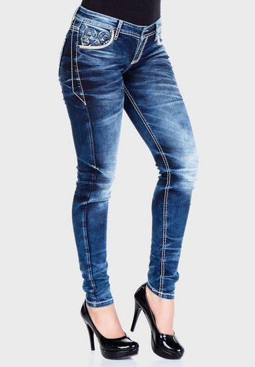 Cipo & Baxx Bequeme Jeans »Utopia« mit bestickten Taschen in Straight Fit
