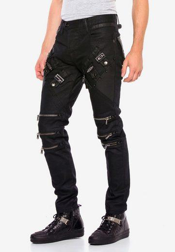 Cipo & Baxx Straight-Jeans mit coolen Reißverschlussapplikationen