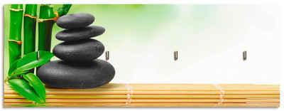 Artland Schlüsselbrett »Spa Konzept Zen Basaltsteine«, aus Holz mit 4 Schlüsselhaken – Schlüsselboard, Schlüsselbretter, Schlüsselhalter, Schlüsselaufhänger für den Flur – Stil: Modern