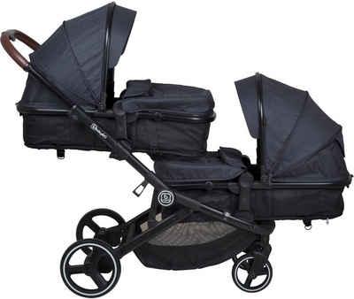 BabyGo Zwillingswagen »Twinner, Grey melange«, inkl. 2 Regenhauben, 2 Nachtlichter u. Wickeltasche; Geschwisterwagen; Kinderwagen