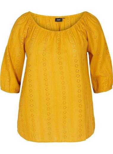 Zizzi Kurzarmbluse Große Größen Damen Off Shoulder Bluse mit 3/4 Ärmeln