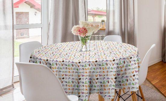 Abakuhaus Tischdecke »Kreis Tischdecke Abdeckung für Esszimmer Küche Dekoration«, Alphabet Tiere und First Letters