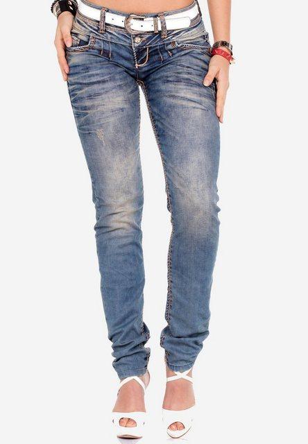 Hosen - Cipo Baxx Slim fit Jeans mit Steppnähten in Straight Fit ›  - Onlineshop OTTO