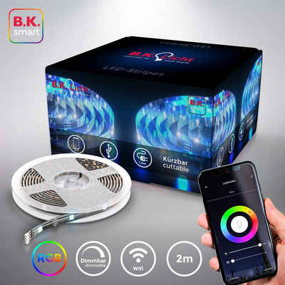 B.K.Licht LED-Streifen, Smart Home LED Stripe/Band 2m inkl. USB WiFi Appsteuerung