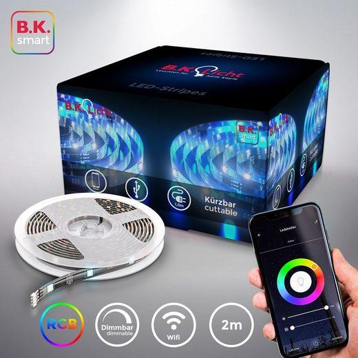 B.K.Licht LED-Streifen, 60-flammig, Smart Home LED Stripe/Band 2m inkl. USB WiFi Appsteuerung