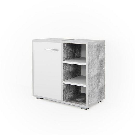 Vicco Waschbeckenunterschrank »Waschtischunterschrank Perry Unterschrank Waschbecken Waschtisch Weiß / Beton«