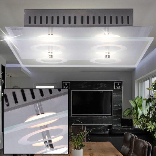 WOFI Deckenstrahler, LED Decken Leuchte Esszimmer Strahler Glas Lampe Chrom 4-flg A+ WOFI 9475.04.01.0000