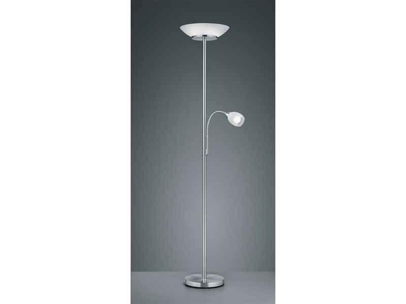 TRIO LED Deckenfluter, Design Steh-Lampe mit Lese-Arm flexibel getrennt schaltbar Leuchte für Schlafzimmer Wohnzimmer Flur Büro