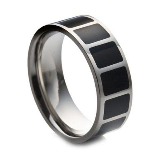 Vivance Fingerring »Edelstahl Ring mit schwarzer Emaille Einlage«, mit Emaille