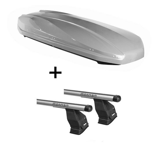 VDP Fahrradträger, DACHBOX STRIKE 440 Liter grau + Dachträger Menabo Tema kompatibel mit Peugeot Partner Tepee (Hochdachkombi) 2008-2015