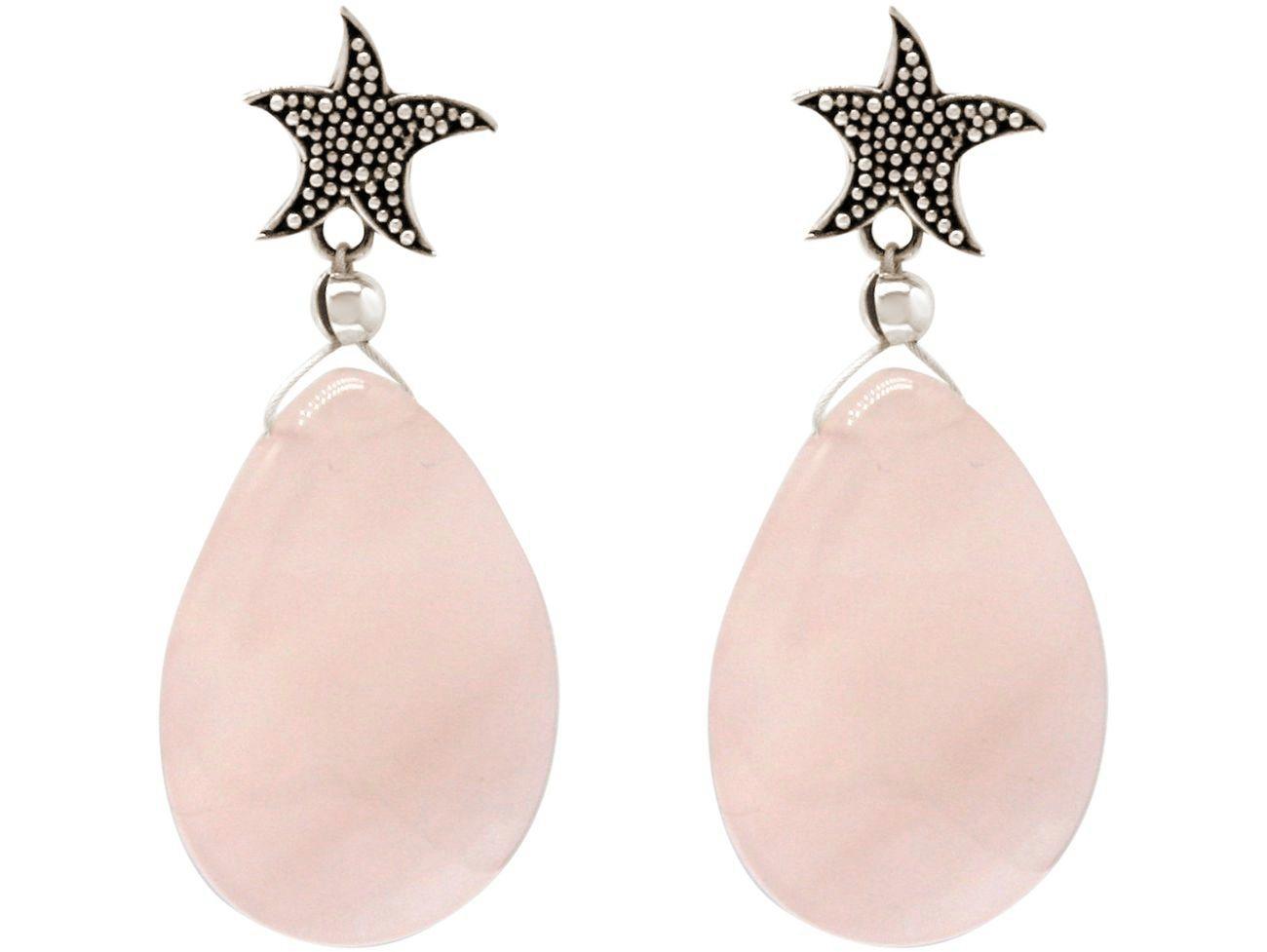 gemshine -  Paar Ohrhänger »Seestern mit Rosenquarz Tropfen«, Manufaktur mit natürlichen Edelsteinen