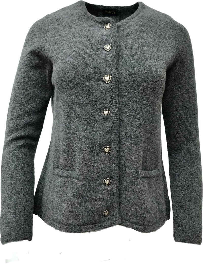 Astrifa Trachtenstrickjacke »Trachtenstrickjacke Damen, graumelange, im Rücken mit Kellerfalte, Herzknöpfe, reine Wolle, hergestellt in Bayern«