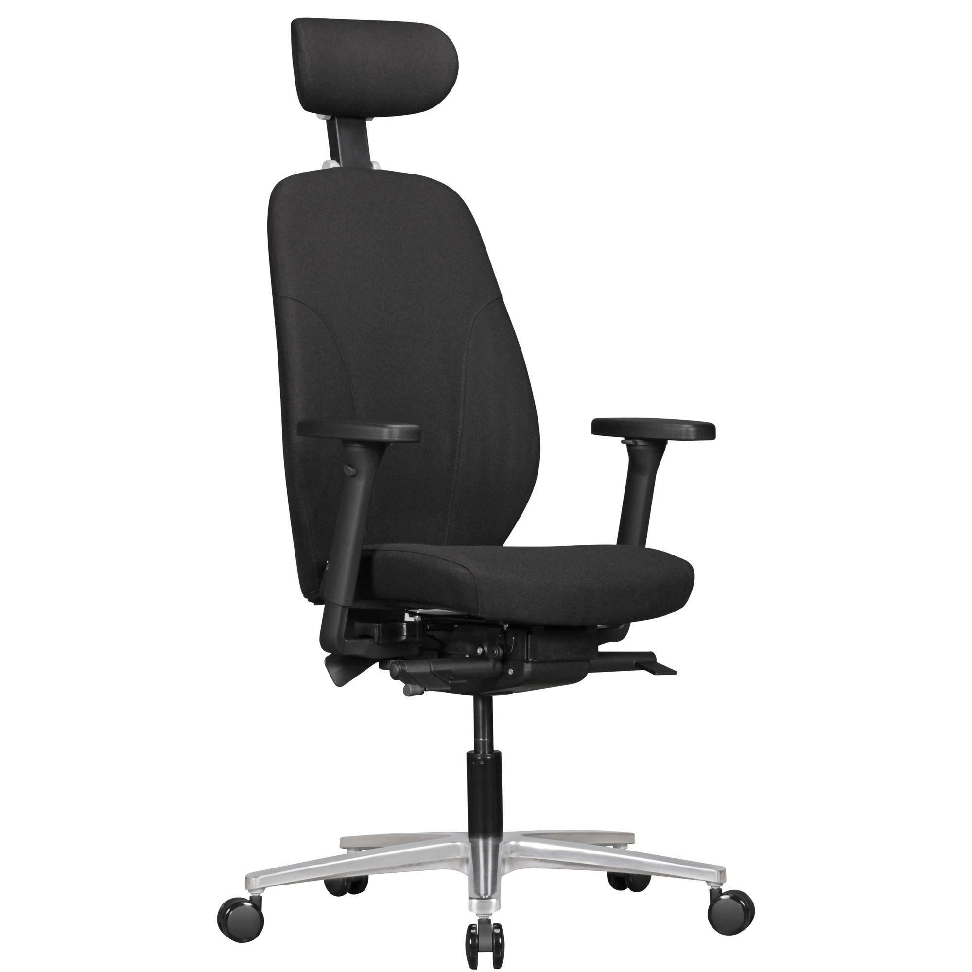 Büro Drehstuhl mit verstellbaren Armlehnen und Kopfstütze Schwarz