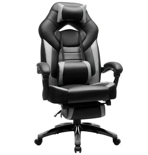 SONGMICS Chefsessel »OBG77«, Gaming Stuhl, Bürostuhl, Schreibtischstuhl, höhenverstellbar mit Fußstützen