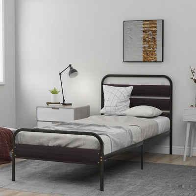 Flieks Metallbett, Einzelbett Jugendbett mit Kopfteil und Fußteil aus Holz