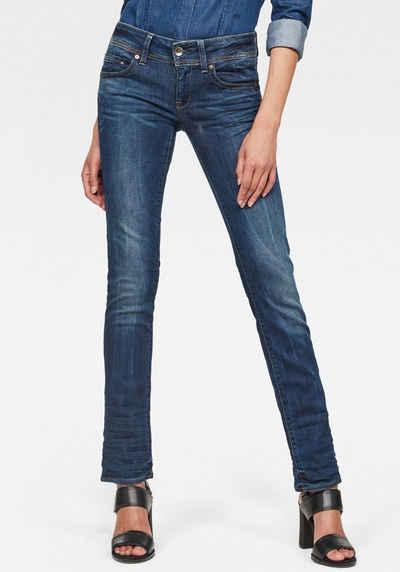 G-Star RAW Straight-Jeans »Midge Saddle Straight« 5-Pocket-Design mit markanten Steppnähten