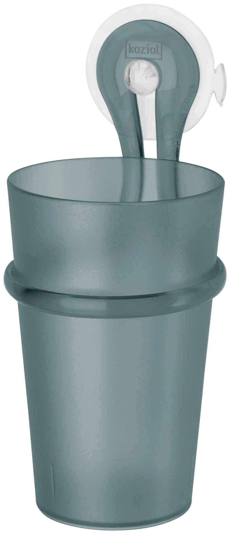 KOZIOL Zahnputzbecher »LOOP«, (Komplett-Set, 1-St), spülmaschinengeeignet, inklusive Halterung