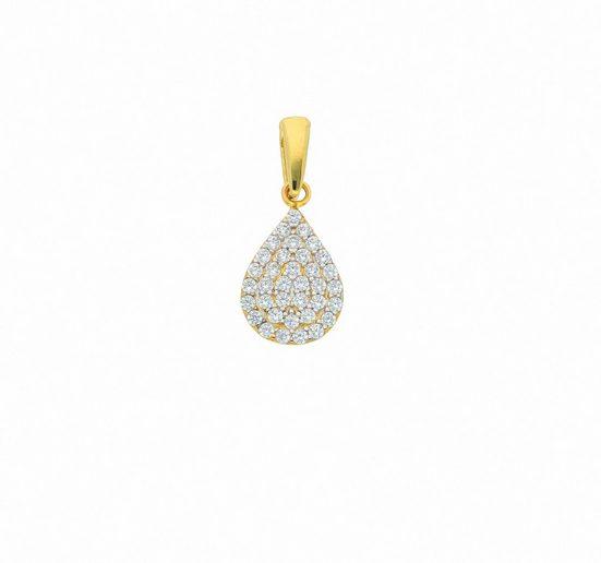 Adelia´s Kettenanhänger »585 Gold Anhänger mit Zirkonia«, Goldschmuck für Damen