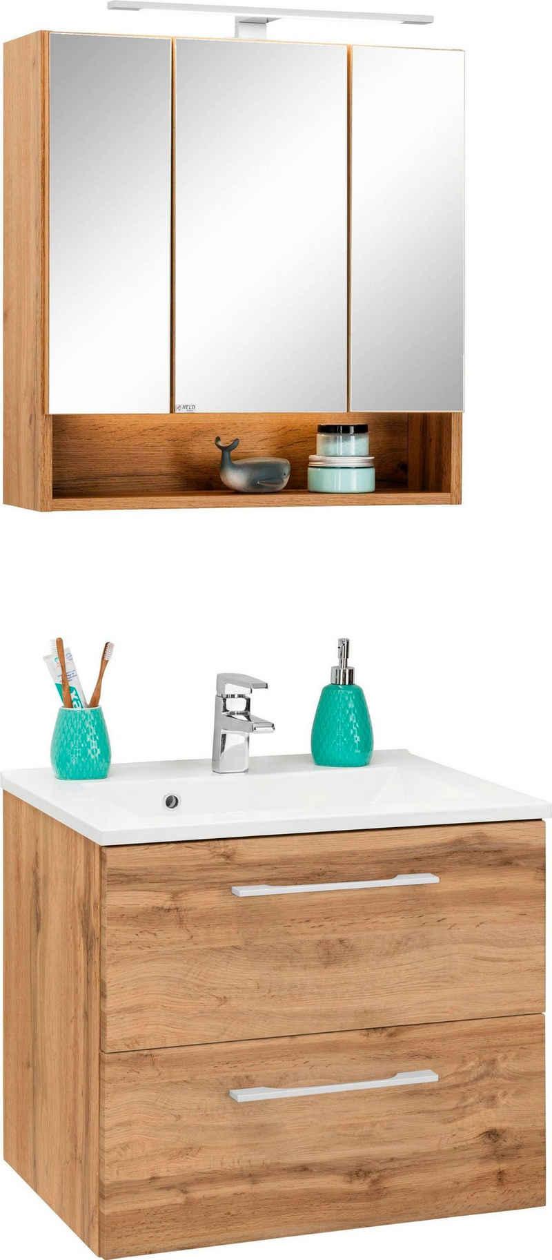 HELD MÖBEL Badmöbel-Set »Soria«, (2-St), Waschtisch Breite 60 cm, Spiegelschrank