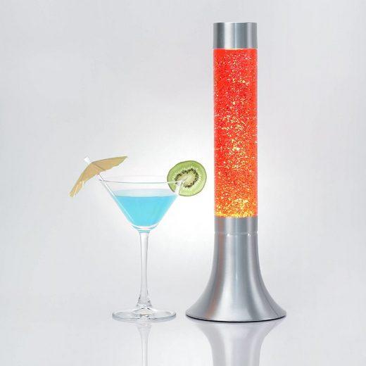 Licht-Erlebnisse Lavalampe »YVONNE Lavalampe Orange Glitter sonnig rund retro Design Wohnzimmer Lampe«