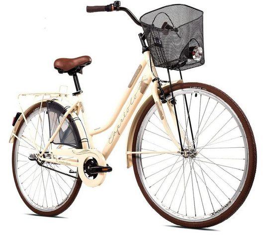 breluxx Cityrad »28 Zoll Damenfahrrad Amsterdam mit Rücktrittbremse, Nexus Nabenschaltung, inkl. Korb + Beleuchtung, Retro Bike - Creme«, 3 Gang Shimano, Nabenschaltung