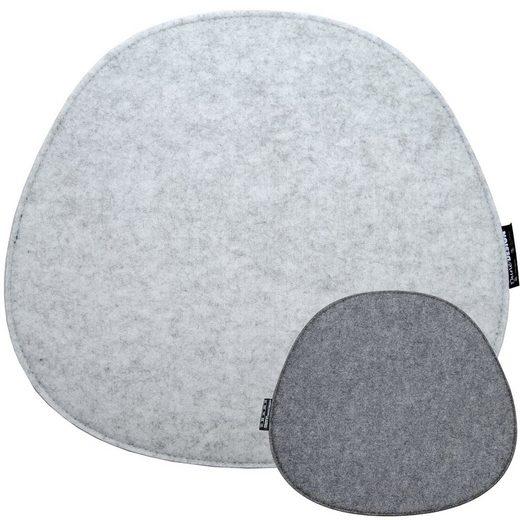 DuneDesign Stuhlkissen »Filz Sitzkissen oval Stuhlkissen Sitzauflage«, 8mm oval grau 40x37cm