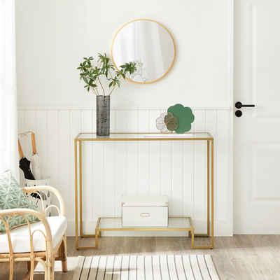 VASAGLE Konsolentisch »LGT023A01«, Beistelltisch, Stahlgestell, 100 x 35 x 80 cm, Wohnzimmer, goldfarben